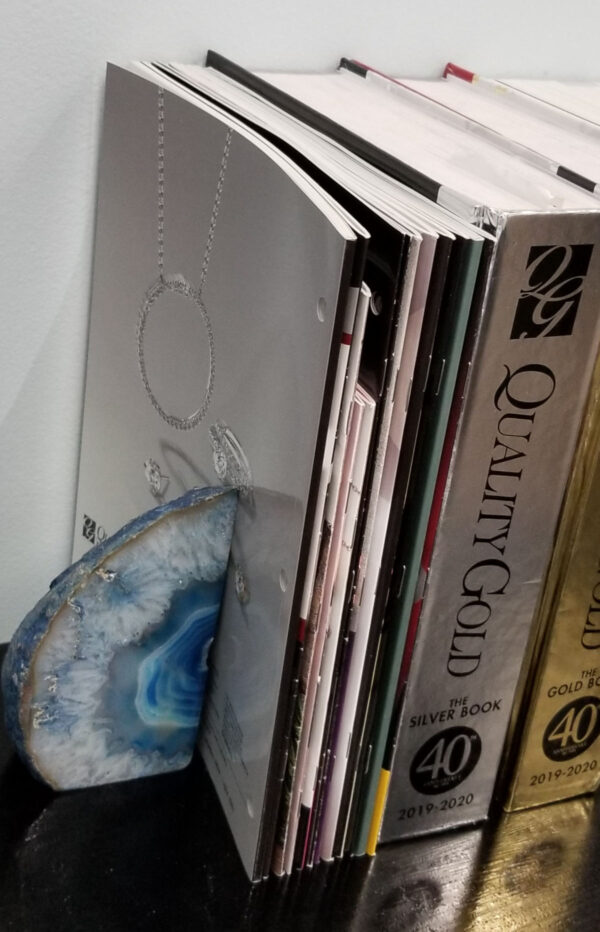 blue agate bookend with books