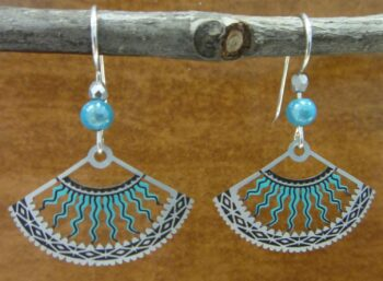These blue and gray fan earrings are handmade by Adajio.