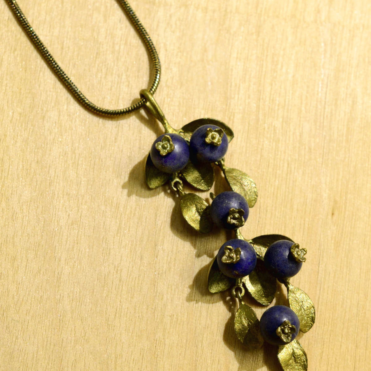 Michael Michaud Silver Seasons Blueberry Pendant necklace close up