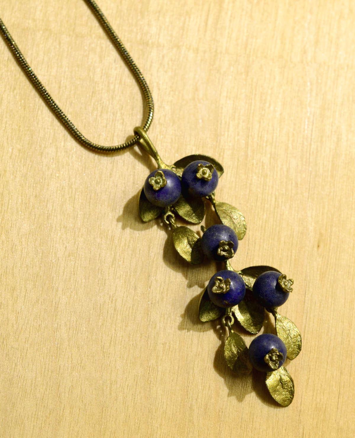 Michael Michaud Silver Seasons Blueberry Pendant necklace close up