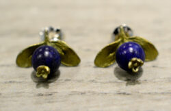 Michael Michaud bronze and lapis lazuli blueberry post earrings