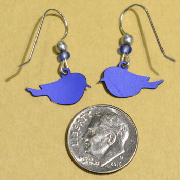 back of eastern bluebird handmade Sienna Sky earrings with dime