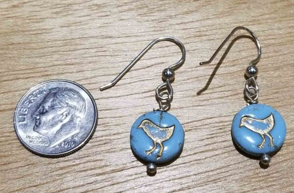 blue bird earrings with dime for scale