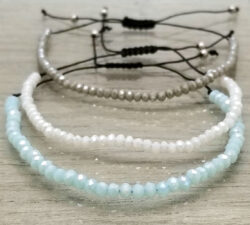 blue, white, and gray art glass adjustable bracelets