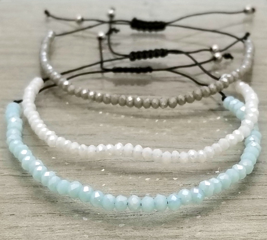 blue, white, and gray art glass adjustable bracelets