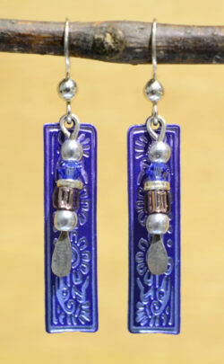 blue floral column with beads Adajio earrings