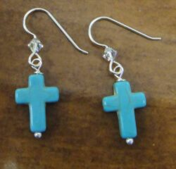 blue cross, Swarovski crystal beads, and sterling silver earrings handmade in Iowa City