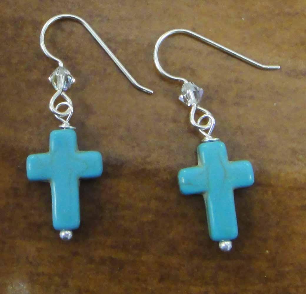 blue cross, Swarovski crystal beads, and sterling silver earrings handmade in Iowa City