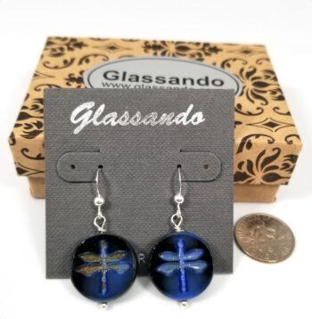 Czech glass dark blue dragonfly earrings