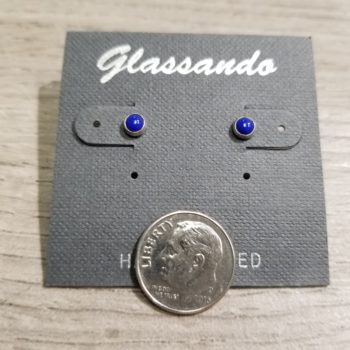 petite dark blue enamel stud earrings with dime for scale