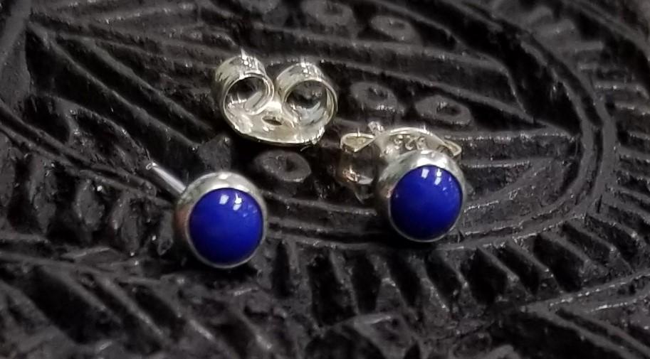 Blue enamel post earrings