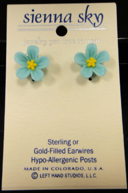 blue flower post earrings by Sienna Sky
