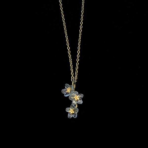 3 flower blue forget-me-not necklace by Michael Michaud