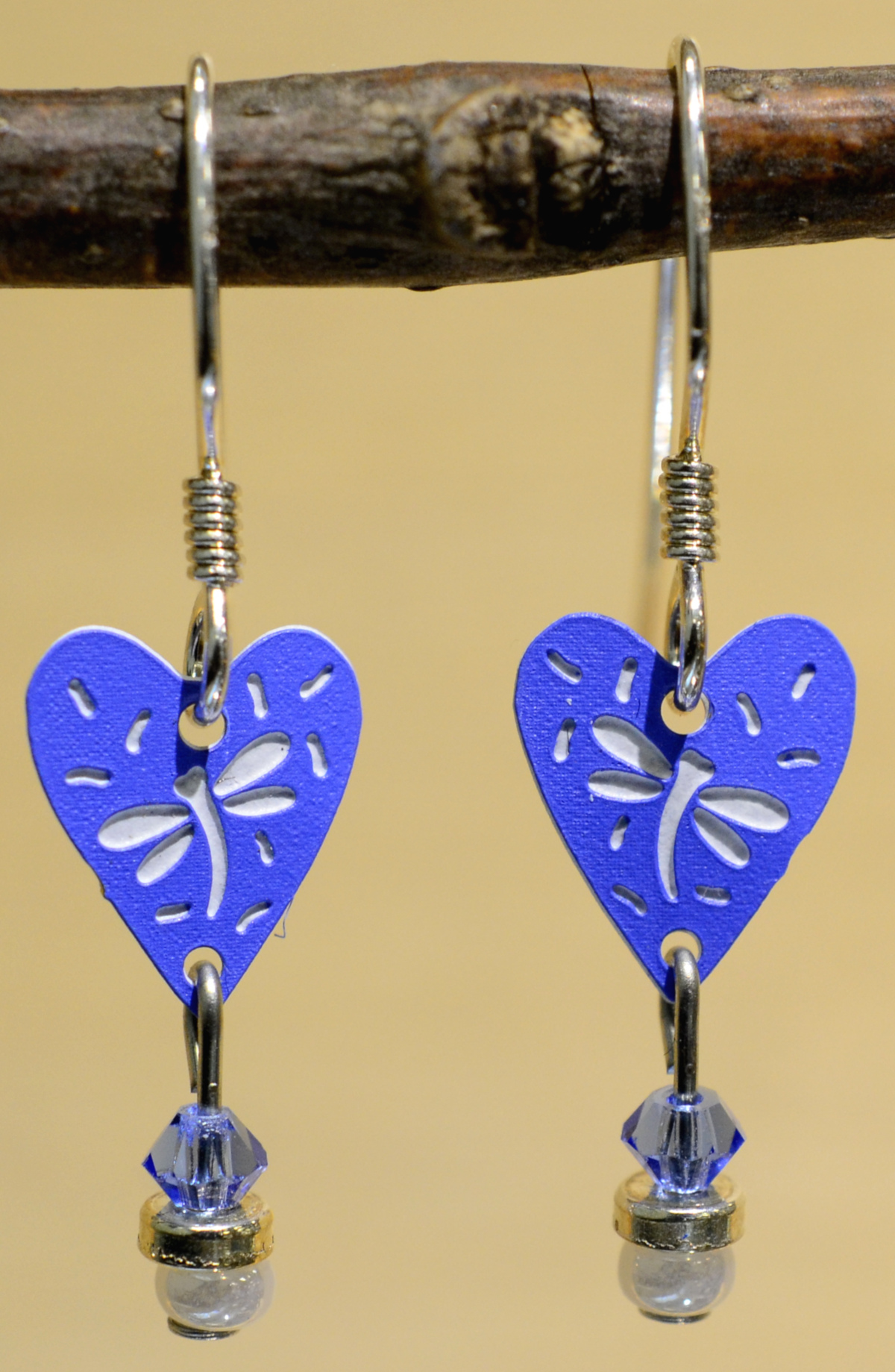 Blue heart and dragonfly earrings