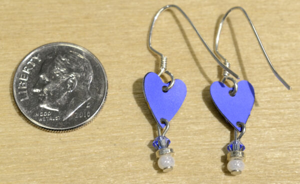 Back of blue heart with dragonfly earrings