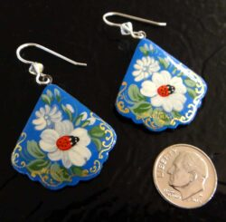 lady bug paper mache earrings with dime for scale