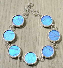 Real blue morpho butterfly wings and sterling silver bracelet
