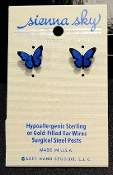 These blue morpho butterfly stud earrings are handmade by Sienna Sky.