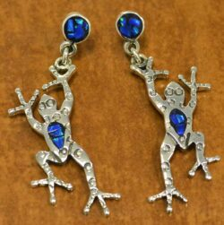 handmade blue opal and sterling silver frog earrings