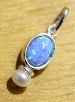 handmade created blue opal, pearl, and sterling silver delicate pendant