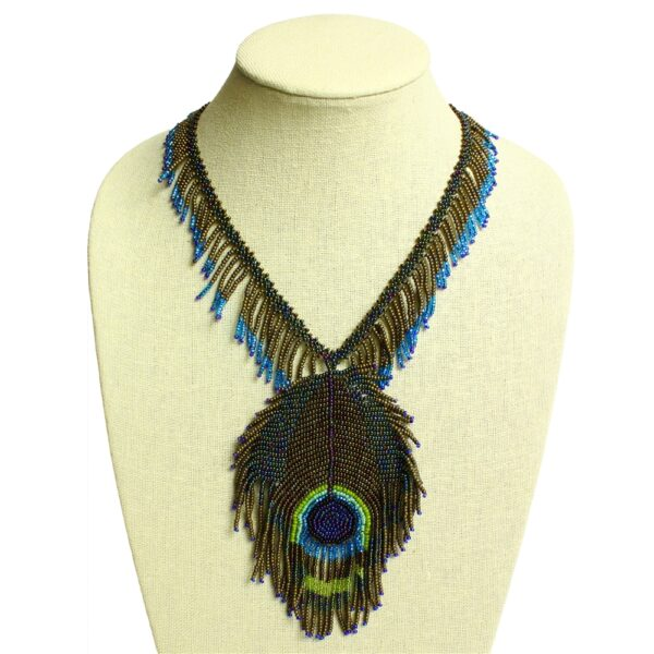 blue and green peacock feather woven seed bead necklace