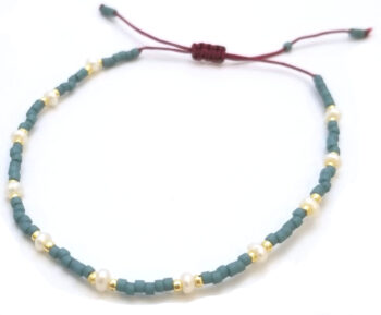 white fresh water pearl and blue seed bead adjustable bracelet
