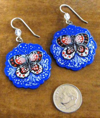 paper mache hand painted butterfly earrings with dime for scale