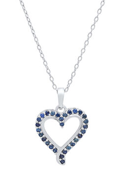blue sapphire and sterling silver heart necklace
