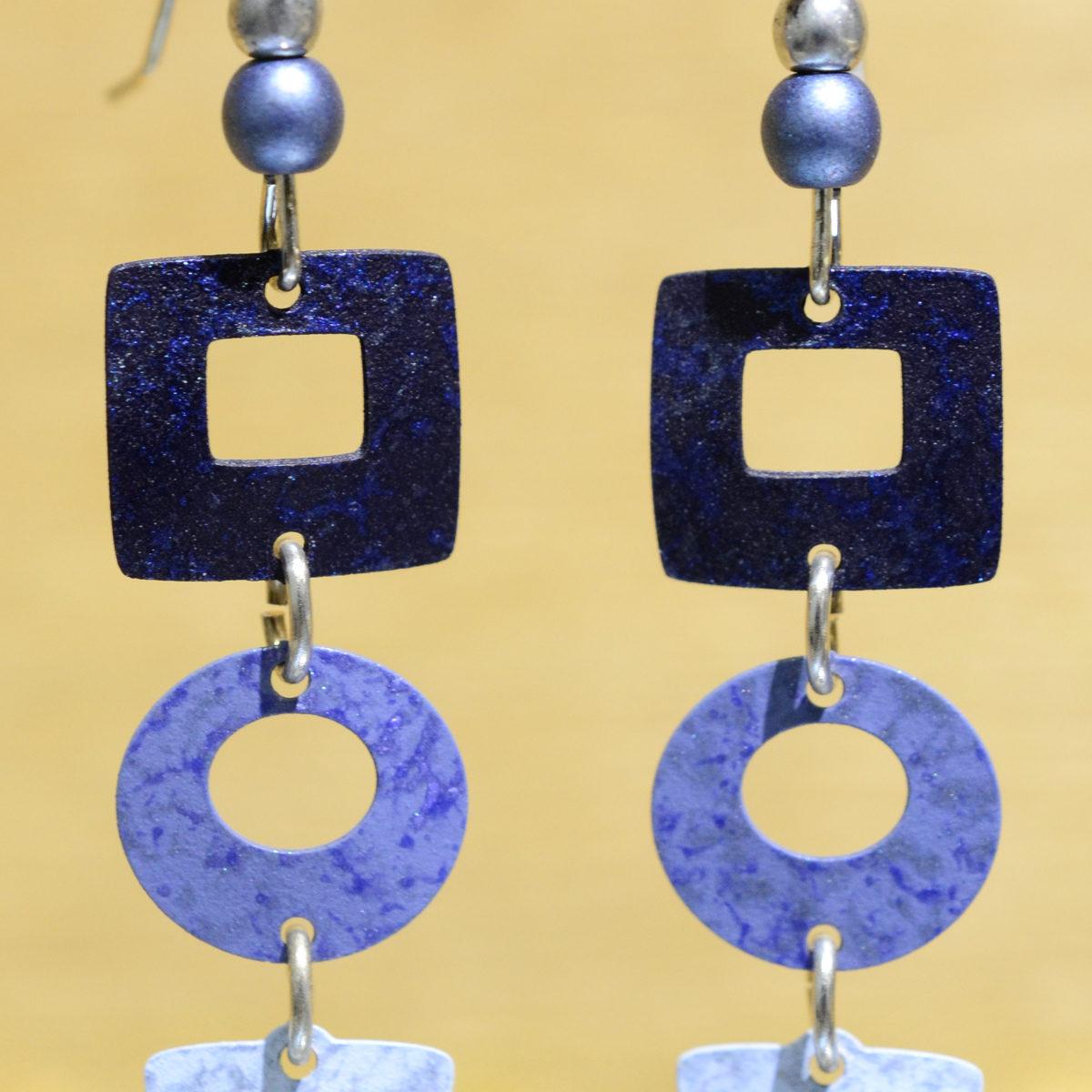 blue square circle and triangle Adajio earrings