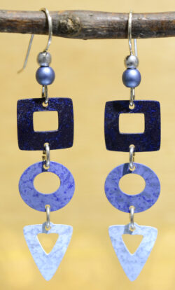blue square circle and triangle Adajio earrings