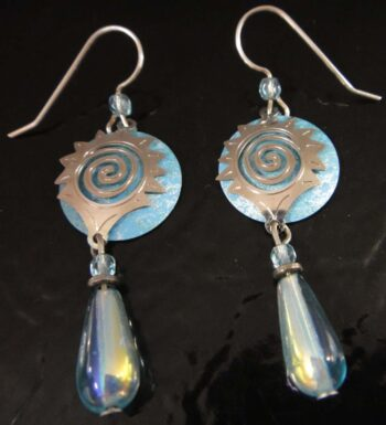 These blue bead and sun drop earrings are handmade by Adajio.