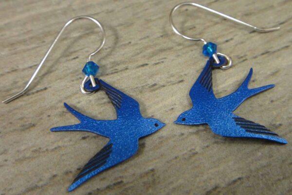 blue flying swallow earrings