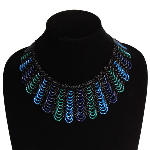 seed bead woven collar necklace
