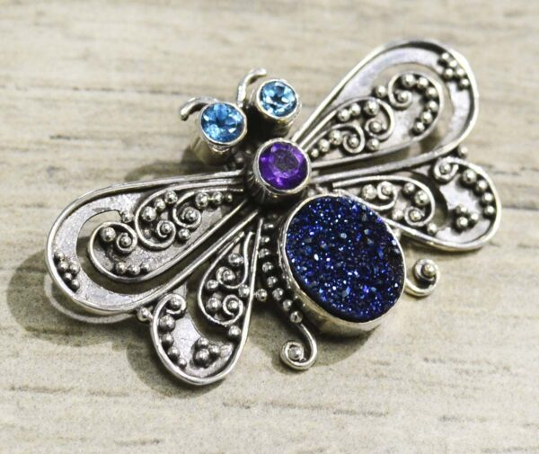 blue topaz, amethyst, and druzy sterling silver butterfly pendant