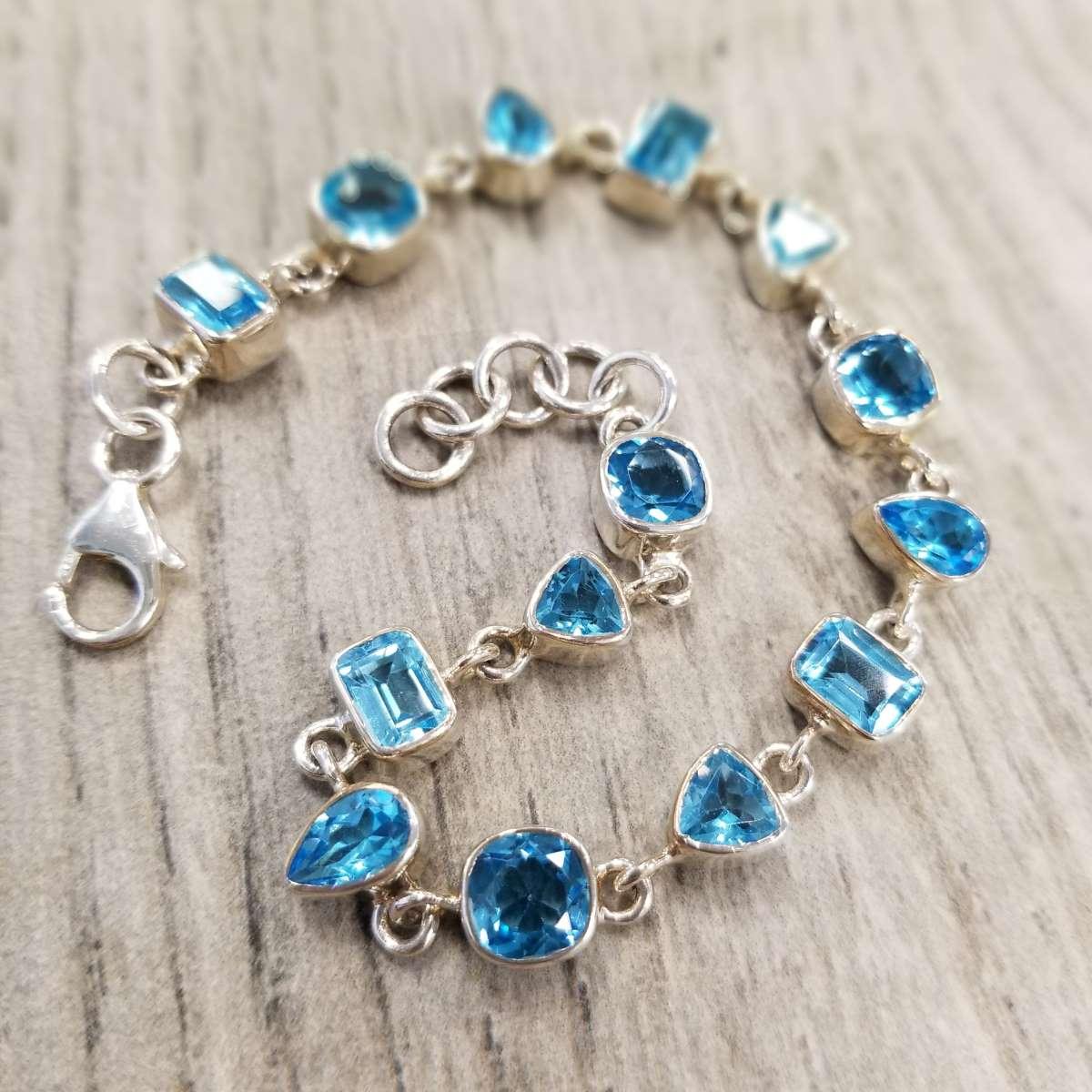 blue topaz and sterling silver bracelet