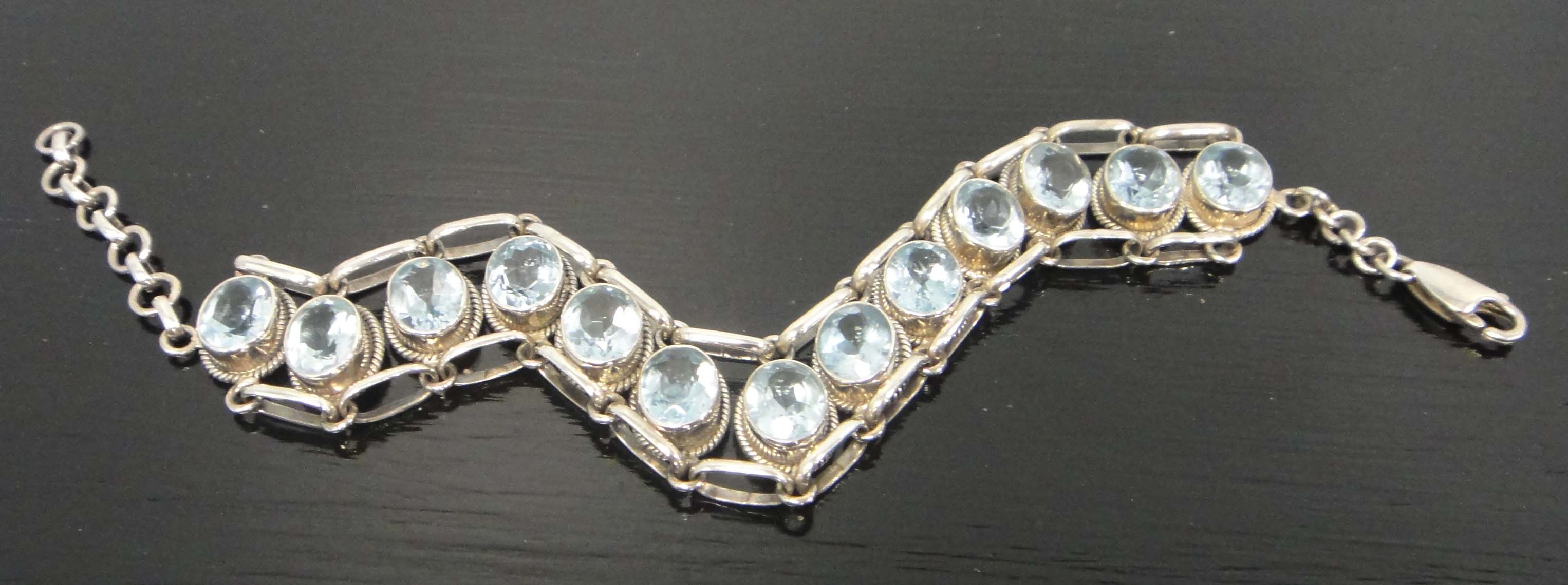 handmade blue topaz and sterling silver bracelet