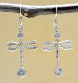 Handmade blue topaz and .925 sterling silver dragonfly earrings