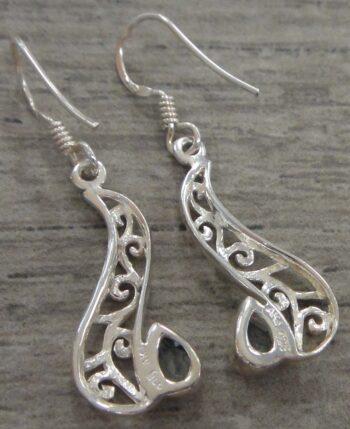 back of blue topaz sterling silver filigree earrings