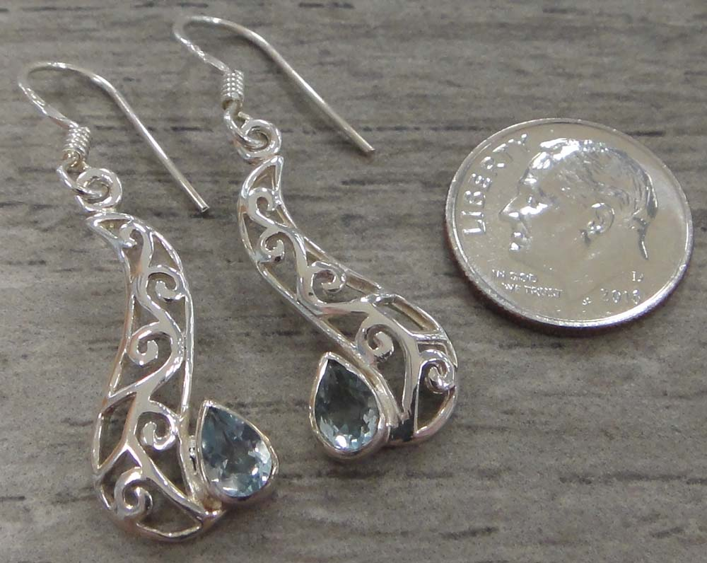 blue topaz sterling silver filigree earrings with dime for scale