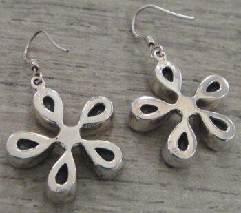 back of blue topaz flower earrings