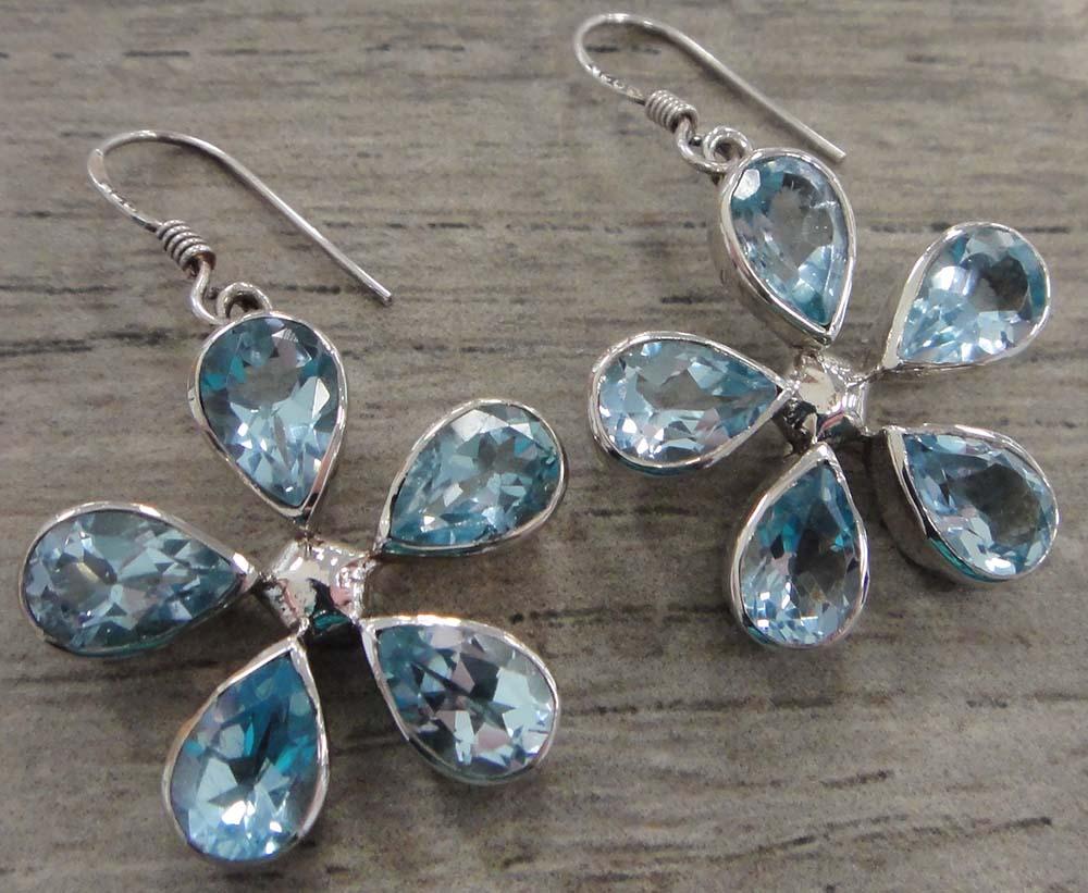 handmade blue topaz and sterling silver daisy flower earrings