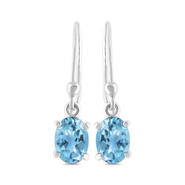 light blue topaz and sterling silver dangle earrings