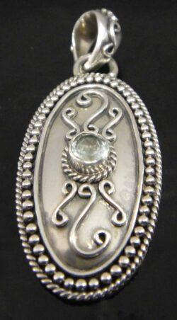 blue topaz oval sterling silver pendant