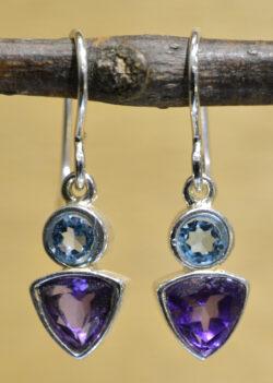 blue topaz and deep purple amethyst gemstone earrings