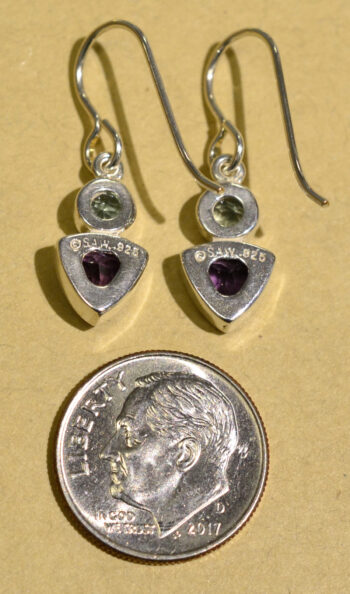 back of blue topaz and deep purple amethyst gemstone earrings with dime