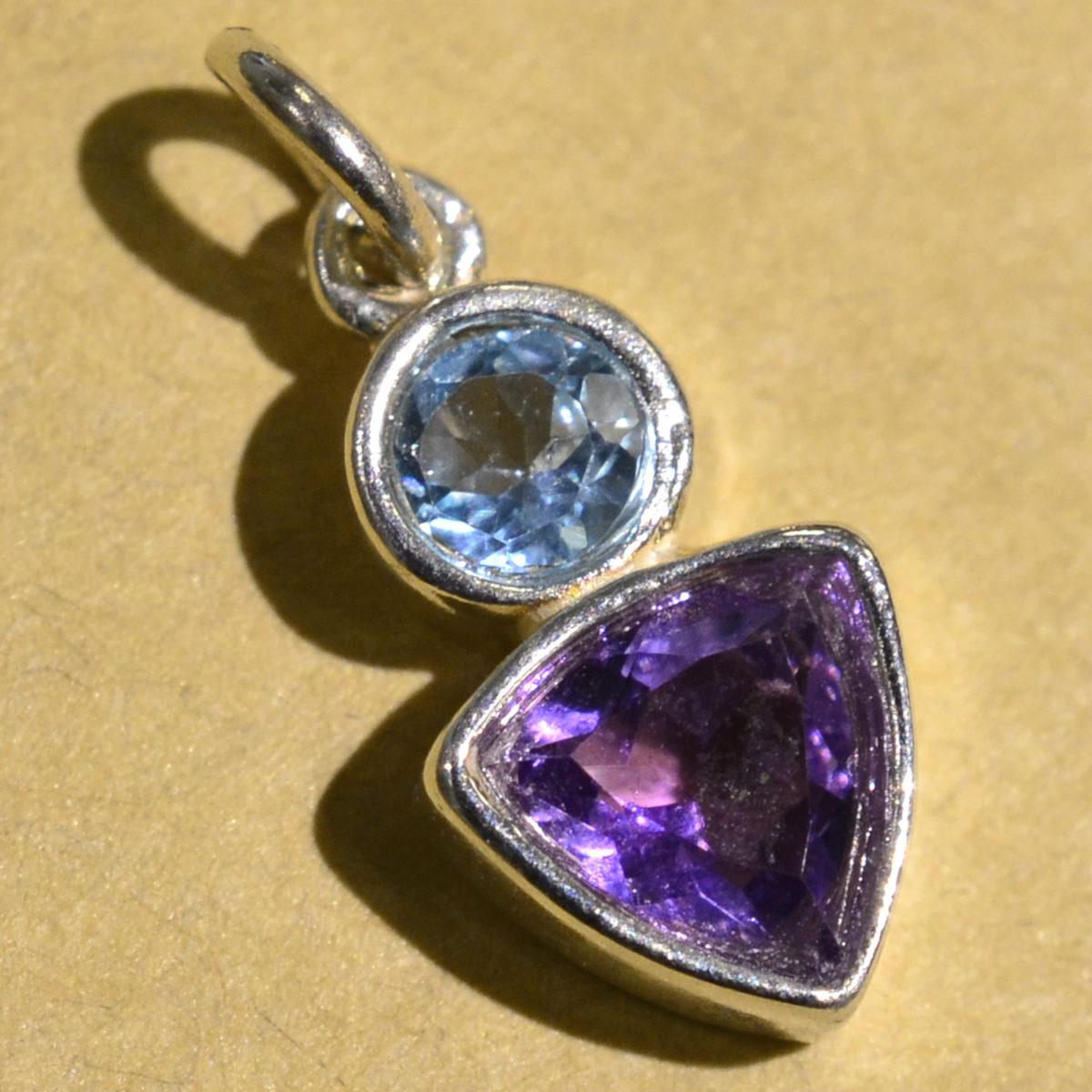 Sierra Designs blue topaz and amethyst petite gemstone pendant