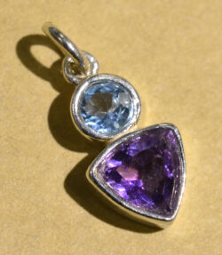 Sierra Designs blue topaz and amethyst petite gemstone pendant