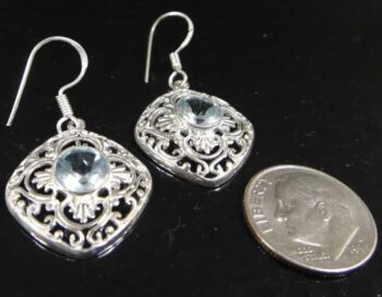 blue topaz sterling silver earrings with dime for scale