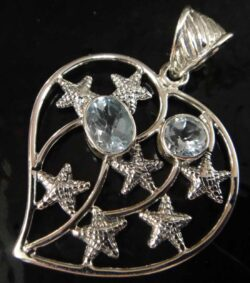 blue topaz starfish heart pendant