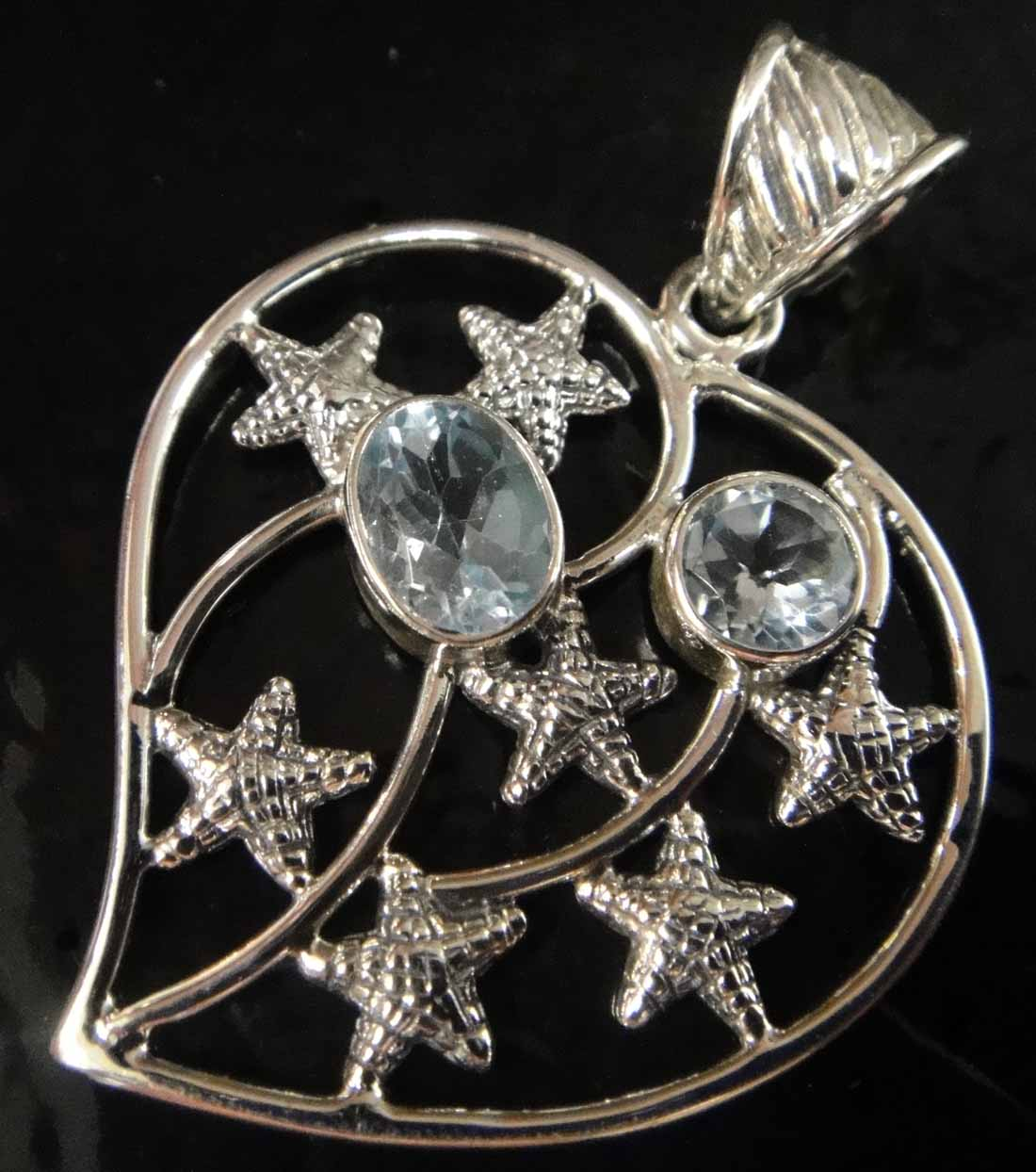 blue topaz starfish heart pendant